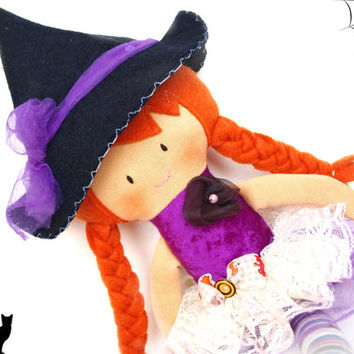 SALE! Halloween doll, cloth doll, handmade doll, fabric doll, rag doll, halloween toy, plush doll, halloween decor, stuffed toy, plushie