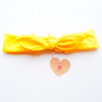 Pretty Cute Bunny bow Bandana style Bow Headband Bright yellow :) Spring Summer collection by Love Factory