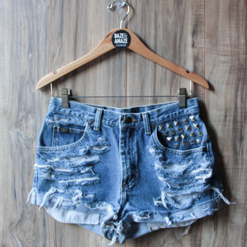 Studded Denim Boyfriend Shorts, Vintage Distressed High Waist Cut Off