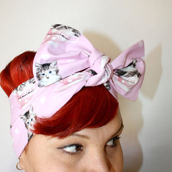 Bow hair tie Pink with Kittens Princess by OhHoneyHush on Etsy