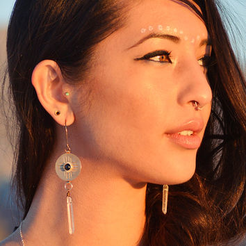 Zia earrings. quartz crystal, bronze,  turquoise, onyx, moonstone, garnet  // spirittribe, bohemian earrings, tribal earrings