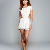 Lacey Open-Back Romper | Wet Seal