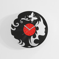 Hairdresser wall clock from upcycled vinyl record (LP) | Hand-made gift for music lover | Unique, original home wall decoration, present