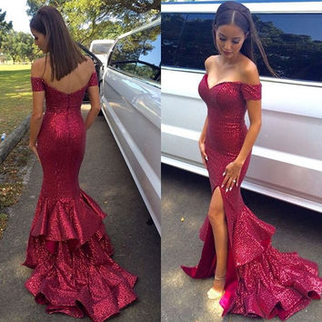 Off Shoulder Sequins Floor Length Prom Dresses