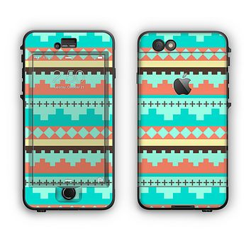 The Teal & Gold Tribal Ethic Geometric Pattern Apple iPhone 6 Plus LifeProof Nuud Case Skin Set