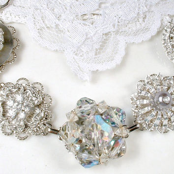 Gray Crystal & Clear Rhinestone Bridal Bracelet, Silver Vintage Cluster Earring Charm Bridesmaids Jewelry Wedding Gift Old Hollywood Glam