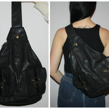 Vintage 90s Black Leather Backpack / One Shoulder Book Bag / Matte Black / Triangular / Festival / School Days / Pablo Saco /