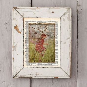 Vintage Flower Fairy art - Totter Grass Fairy - Fairy art print,  Dictionary print art