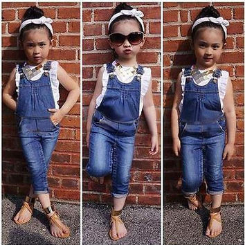 2016 New Sleeveless Girls Clothes Set Ruffle Vest + Jeans dungarees 2pcs Outfits Age 2-7Y