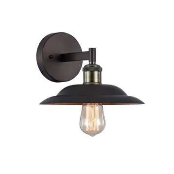 "Ironclad, Industrial-Style 1 Light Rubbed Bronze Wall Sconce 10"" Wide"