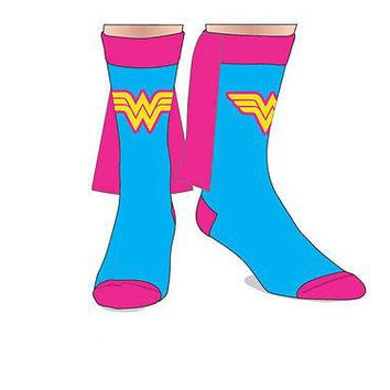 Wonder Woman DC Comics Costume Cosplay Pink & Blue Crew Socks with Cape LICENSED