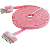 Light Pink Noodle USB Sync Data Cable Charger (10FT) for Apple iPhone 4 / 4S