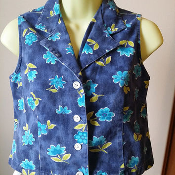 floral jean vest, sleevless shirt, womens blue and yellow flower top, size small womans vintage 80s clothes