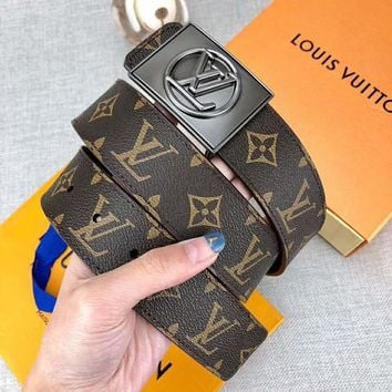 LV Louis Vuitton New fashion monogram print leather couple belt Coffee