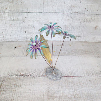 Flowers Vintage Metal Sculpture Brutalist Mid Century Modern Flower Sculpture Brass Flowers Collectible Art Purple and Blue Flowers