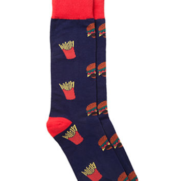 Burger & Fries Socks Blue/Red One