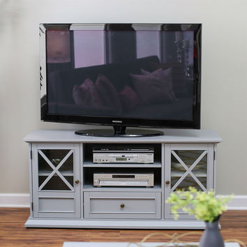 Grey Wood Entertainment Center TVstand Cabinet with Adjustable Audio Video Shelves