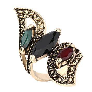 Exotic Rustic Gold Plated Turkish Hurrem Style Rhinestone Wrap Ring