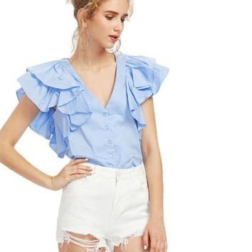 Ruffle Shoulder Shirt Blue V Neck Blouse Sexy Cute Women Solid Tunic Tops Button Up Ruched Ladies Blouse