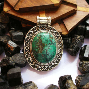 Old Natural Tibetan 925, Turquoise Pendant, 925  Silver, Giant Oval Cabochon, Genuine Turquoise, Handmade Jewelry, Statement Pendant,
