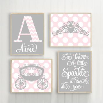 PINK GRAY Nursery Art, Princess Wall Art, Baby Girl PRINCESS Decor, She Leaves Sparkle Princess Crown Carriage Canvas or Prints Set of 4