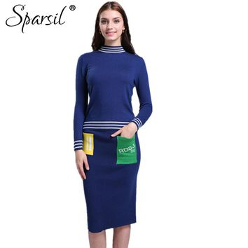 Women Striped Design Wool Pullover +Knitted Skirt/Set O-Neck Warm Soft Cashmere Blend Knitwear Slim Sweater