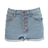 Tia Stone Wash 5 Button High Rise Hotpants
