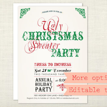 PREMIUM - Ugly Christmas Sweater Party Invitation, Holiday Party, Chalkboard, Red, Green - digital file, printable