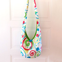 Swirls and Dots Hobo Bag, Sling Bag, Bright, Colorful, Polka Dots, Blue, Red, Green, Yellow, Hippie Purse, Cross Body Bag