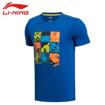 DCCKHN1 LI-NING Summer Men T-Shirt Outdoor Hiking 64% Cotton 36% Polyester Dry Fast Breathable Fit Sport T-Shirt  LINING AHSK087 MTS1000