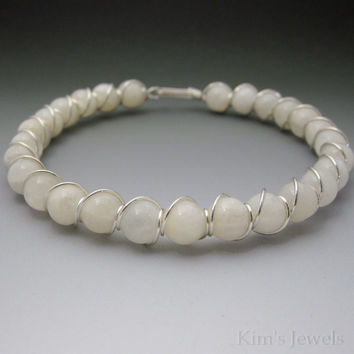 White Moonstone Sterling Silver Wire Wrapped Beaded Bracelet