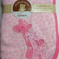 Carter's Child of Mine Pink White Giraffe Baby Newborn Swaddle Blanket, Animal Print