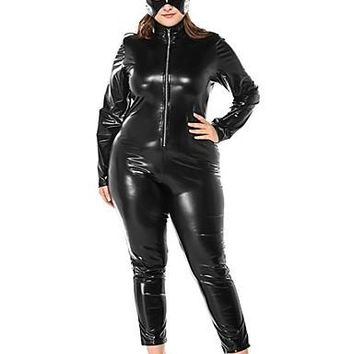 Cosplay Costume Zentai Cosplay Costumes Black Solid Leotard