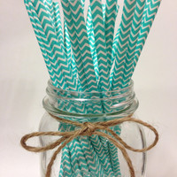 25 Tiffany Blue chevron paper straws // baby shower decorations // candy dessert buffet table // wedding // First birthday/new year year