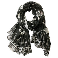 Giraffes Scarf, Black/White, Scarves