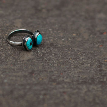 Minions Ring with Turquoise- Sterling Silver size 6.25
