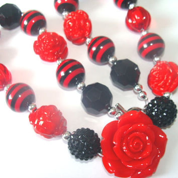 Glamorous Red And Black Chunky Beaded Necklace Toddler to Girls Red Flower Focal