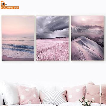 Canvas Art Print Lavender Sea Wall Painting Purple Nordic Posters And Prints Wall Pictures For Living Room Kids Bedroom Decor