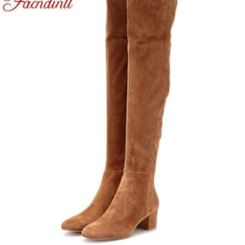 FACNDINLL winter boots suede leather thigh high boots sexy fashion over the knee boots high heels woman shoes black botas mujer