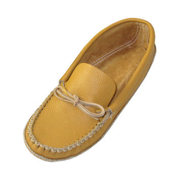Men's Soft-Sole Cowhide Leather Moccasins 188-M - Medium Brown