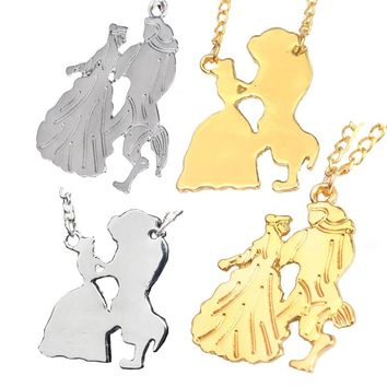 Fashion Trendy jewelry  Beauty And The Beast Necklaces Gold & Silver Beauty And Beast Dance Together Necklace