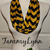 NEW!! Gold Mustard and Black LONG Chevron Team Game Day Wake Forest ASU Appalachian Wichita Scarves Pont De Roma Infinity Scarves