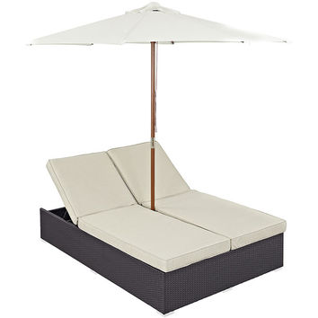 Convene Outdoor Patio Chaise with Umbrella in Espresso Beige
