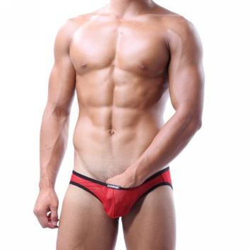 Dominik Sheer Mesh See-through Boxer Briefs, Mens, Red (M)