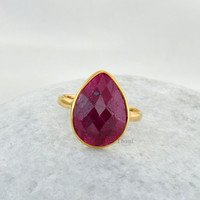 Ruby Beautiful Pear 10x14mm Micron Gold Plated 925 Sterling Silver Ring - #1098