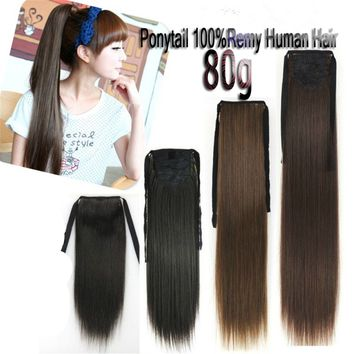 80gr Straight Ribbon Ponytail Remy Clip In Real Human Hair Extensions Full Head