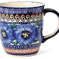 Straight Mug, Blue Flowers, 12 oz, Coffee Mugs