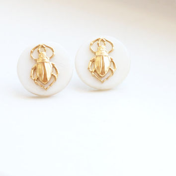 Pearl and Brass Beetle Earrings, Insect Earrings, Scarab Earrings, Pearl Earrings, Brass Earrings, Bug Earrings