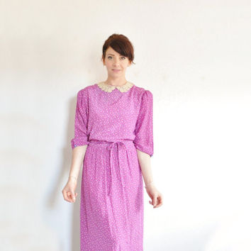 pink purple tiny floral print dress . lace peter pan collar .medium.large