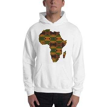Unisex Map Of Africa Kente Print  Hooded Sweatshirt